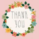 看板卡感谢您 在桃红色背景的明亮的花卉框架 免版税库存照片