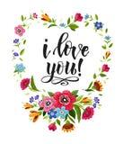 看板卡日愉快的华伦泰 典雅的字法我爱你在花卉框架 传染媒介心脏框架 背景黑色关闭设计蛋炸锅衬衣t 库存例证