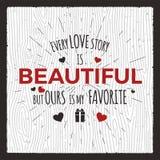 看板卡日愉快的华伦泰 爱图表横幅和背景与心脏和文本-每爱情故事美好的行情 库存例证