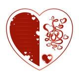 看板卡日问候s华伦泰 与字法和线的红色心脏文本的 库存照片