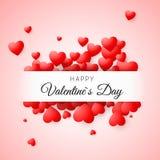 看板卡日问候s华伦泰 在桃红色背景的五彩纸屑红色心脏与框架和在愉快的情人节上写字 对设计po 库存图片