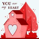 看板卡日问候s华伦泰 有心脏窗口的桃红色房子 向量例证