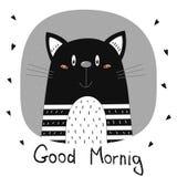 看板卡早晨好 手拉的逗人喜爱的滑稽的动画片传染媒介猫印刷品 库存例证