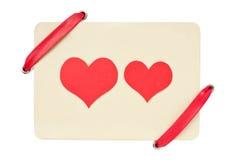 看板卡查出的红色丝带华伦泰白色 库存照片