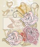 看板卡标签浪漫玫瑰文本 库存图片