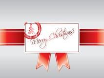 看板卡标记的圣诞节丝带 免版税图库摄影