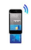 看板卡概念赊帐移动电话 免版税库存图片