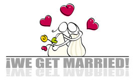 看板卡滑稽的女同性恋的婚礼 库存照片
