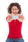 看板卡相当赊帐女孩显示 库存照片