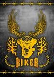 看板卡砍刀motorcicle主题海报的模板 免版税图库摄影