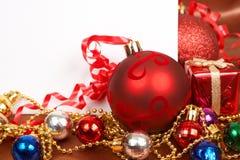 看板卡空白圣诞节的装饰 免版税库存图片