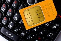 看板卡聪明电话的sim 免版税库存照片