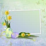 看板卡装饰复活节彩蛋问候 库存图片