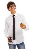 看板卡赊帐人英俊的年轻人 库存照片
