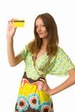 看板卡赊帐俏丽的妇女 免版税图库摄影