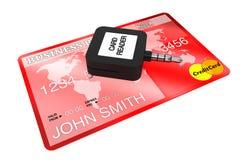 看板卡赊帐移动电话阅读程序 免版税库存照片