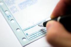 看板卡赊帐签署的清单 免版税库存图片