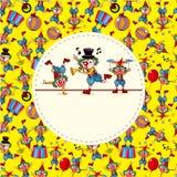 看板卡逗人喜爱动画片的小丑 库存图片