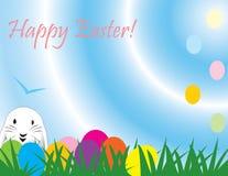 看板卡逗人喜爱的复活节极大的纸快速兔子 库存照片