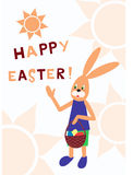 看板卡逗人喜爱的复活节问候 免版税库存照片