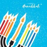 看板卡问候愉快的光明节 Hanuka juish传染媒介例证 犹太menorah hanuka对光检查标志 方形框架