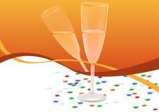 看板卡香槟玻璃问候 免版税库存图片