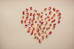 看板卡s华伦泰 心脏标志由干玫瑰做成在葡萄酒背景 顶视图,平的位置 概念,与拷贝地方的明信片 库存图片