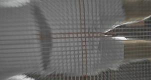 看法从下面通过跳跃在绷床的绷床杂技演员的滤网 飞行和轻碰 股票录像