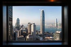 看法从中国银行塔观察台的IFC两 免版税库存图片