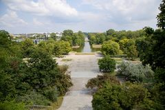 看法从Ujazdow城堡到Ujazdov公园在华沙,波兰 库存照片