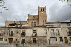 看法其中一条Penaranda de杜罗村庄的街道  免版税库存图片