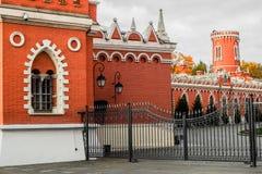 看法到佩特洛夫宫殿里,莫斯科,俄罗斯庭院  免版税库存照片