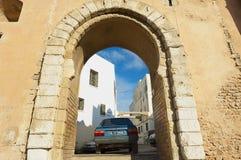 看法到其中一个麦地那的门在斯法克斯,突尼斯 图库摄影