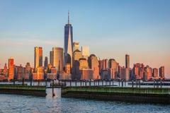 看法向从新泽西的曼哈顿 免版税库存照片