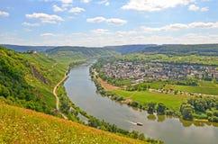 看法向河摩泽尔和Marienburg在村庄Puenderich - Mosel酒区域附近防御在德国 免版税库存图片