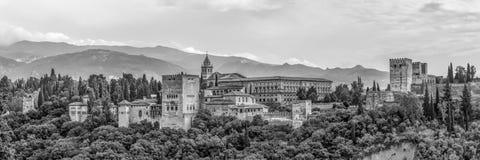 看法向阿尔罕布拉宫-黑色和白色 库存图片