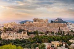 看法向雅典卫城,希腊 免版税库存照片