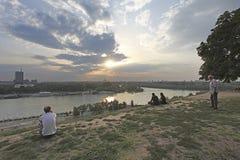 看法向从Kalemegdan堡垒,贝尔格莱德,塞尔维亚的河 库存照片