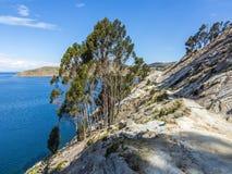 看法向Isla的del Sol Titicaca湖 图库摄影
