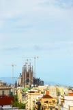 看法向Sagrada Familia建设中在巴塞罗那在西班牙 免版税库存图片