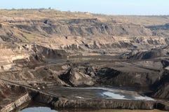 看法在一个开放煤矿 免版税库存图片