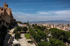 看法在卡利亚里,撒丁岛从上面 免版税库存照片