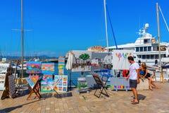 看法在圣特罗佩,法国港口  库存图片