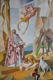 绘画看法在墙壁上的有节录的图象的从圣经的在Santuà ¡里约das Almas教会里在尼泰罗伊 免版税图库摄影