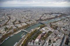 巴黎看法在晚上 库存照片