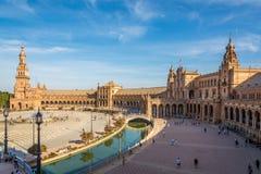 看法在Plaza de西班牙的北边在塞维利亚-西班牙 免版税库存照片