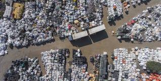 看法垃圾填埋概略的视图 废物存储的垃圾填埋 免版税图库摄影