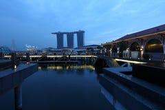 看法小游艇船坞海湾铺沙新加坡 免版税库存图片