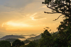 看法日出自然山风景 免版税库存图片