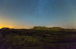 看法沙漠风景在夜 Navarra 免版税库存图片
